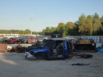 Auto salvage yard in Waukesha, Wisconsin