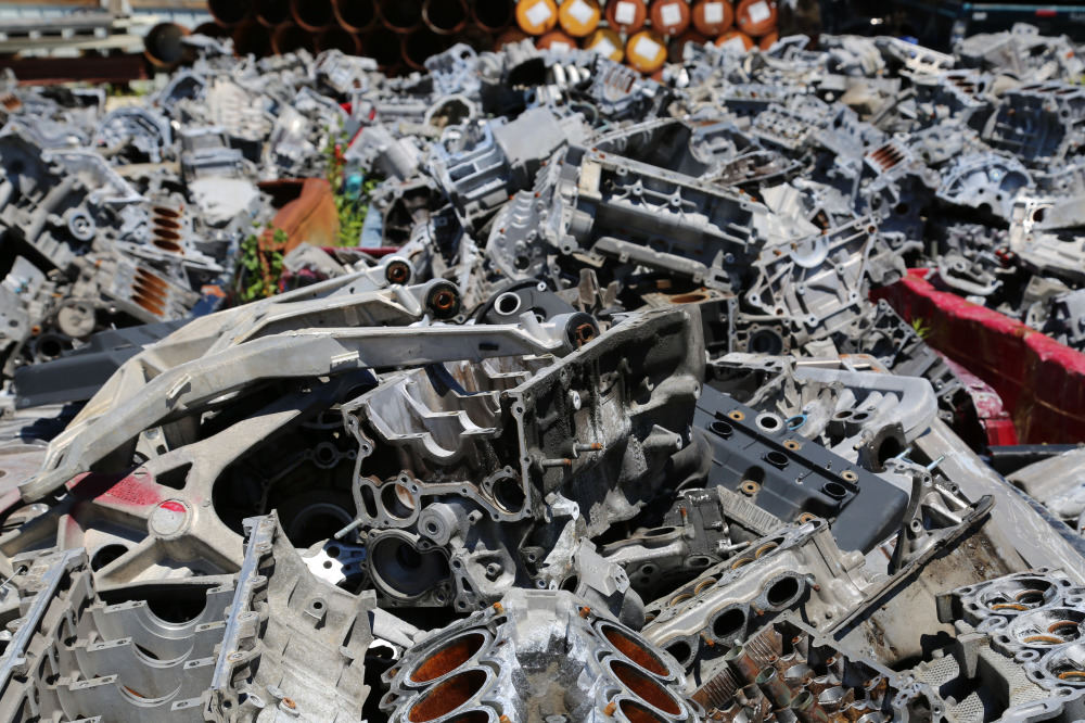 Engine blocks collected for recycling in Waukesha