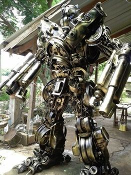 Megatron sculpture made from scrap auto parts